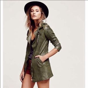 DOMA FREE PEOPLE Leather Long Jacket Green Boho L